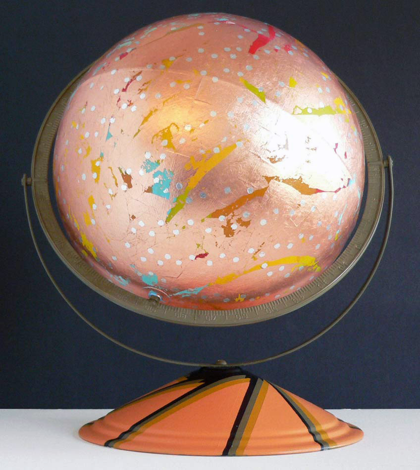 "Copper Colorfield: glaobe w copper leaf over acrylics,  15""x12""x13"",  2010"