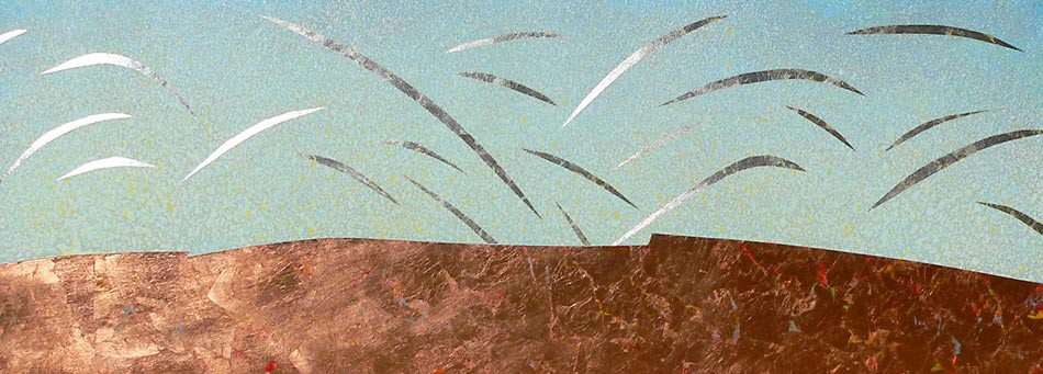 "Dreams of Flight: acrylics w silver & copper leaf, 20""x60""x2"",  2007(collection of the artist)"