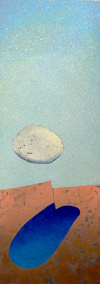 """My Fault: silver and copper leaf over acrylics on canvas,  60""""x20""""x1.5"""",  2007"""